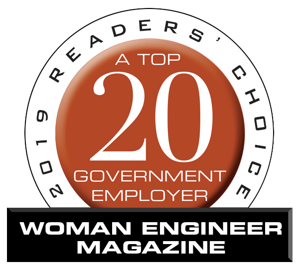 2019 Readers' Choice. A Top 20 Government Employer. Woman Engineer Magazine logo