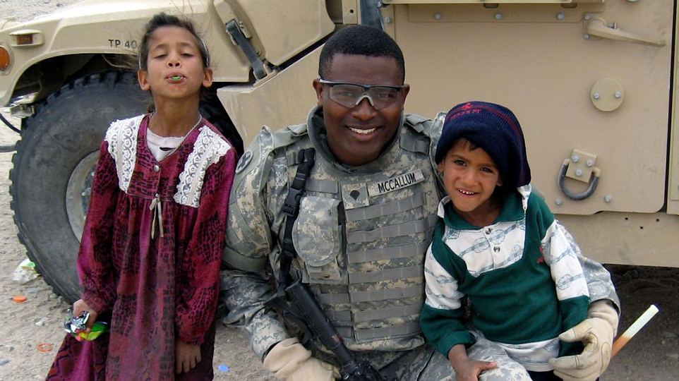 Army National Guard soldier Ryan McCallum during his time in Iraq